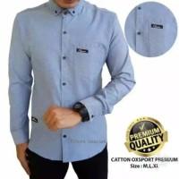 SPECIAL DISCOUNT Promo Baju Kemeja Polos Panjang Pria Hem Distro Baru - Biru Muda, M