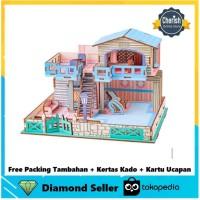 Puzzle Kayu Bentuk Rumah BLUE BEACH HOUSE - Puzzle Kayu 3D   B-028