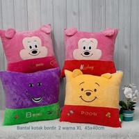 Bantal Bordir 2 Warna XL 45 X 40 Mickey Minnie Barney Pooh Import