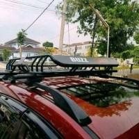 rak bagasi atas mobil Pajero sport+cross bar merek busrak