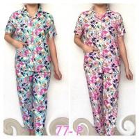 77 Piyama wanita baju tidur cewek setelan baju tidur motif DORAEMON