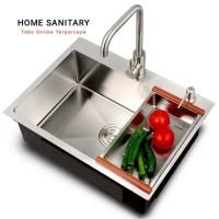Kitchen Sink 6045 Paket Komplit Kran Flexible/Paket Bak Cuci Piring