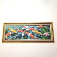 Lukisan Ikan 9 Ekor Koi untuk Fengshui Ruangan Hiasan Hoki not Kuda