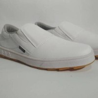 Sepatu Pria Casual Vans Slip on putih polos Slop Tanpa Tali Terbaru