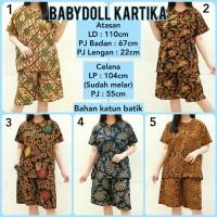 Babydoll Batik Baju Tidur Setelan Piyama Wanita Babydoll Katun