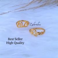 cincin couple ring custom ukir nama lapis emas dan silver titanium