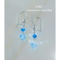 Anting Swarovski Model Bicone Warna Aquamarine–Capri Blue Kode A K03