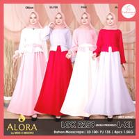 FS042 Baju Gamis Wanita Setelan Dress Muslim All Size - Merah Muda