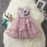 dress anak baju pesta aksen renda hiasan bunga - 2-3 tahun