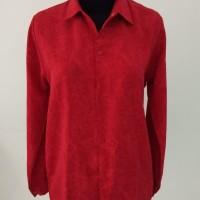 fashion atasan wanita kemeja lengan panjang warna merah