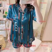 stelan baju tidur piyama wanita. satin import. c.pdk motif gucci