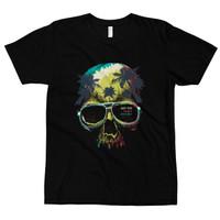Kaos Distro Premium Lengan Pendek Skull Adventure T-Shirt - Hitam, S