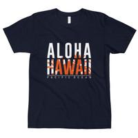 Kaos Distro Premium Lengan Pendek Aloha Hawaii Text T-Shirt - Navy, S