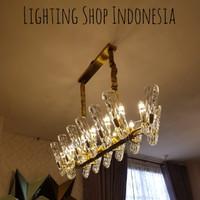 Lampu gantung kristal panjang kaca gold 14L meja makan minimalis hotel