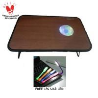 Meja Laptop Kayu Foldable + Fan 12cm