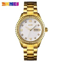 Jam Tangan Pria Analog SKMEI 9221 GOLD WHITE WaterResist 30m