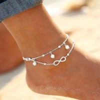 [READY] Gelang Kaki 2 Layer Infinity Pearls Gold Silver Anklet A001