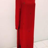 baju kurung muslim padang model panjang sifon merah belah pinggir