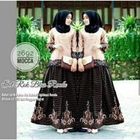 Baju Atasan Wanita Batik Setelan Blouse Renda Rok Single Pesta Terbaru - Cokelat
