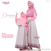 EL 01 Baju Muslim Couple Ibu Anak Labebah Elmeera Pink