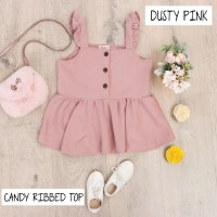 BAJU DRESS ANAK PEREMPUAN, CANDY RIBBED TOP WARNA DUSTY PINK