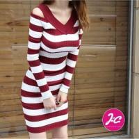 Baju Rajutan Wanita Dress Stripe Knit
