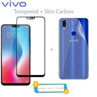 Vivo V9 Tempered Glass Skin Carbon Anti Gores Belakang Back 360