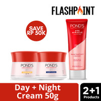 POND'S AGE MIRACLE DAY CREAM 50G + PONDS AGE MIRACLE NIGHT + FOAM 100G