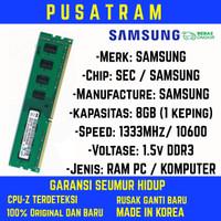 RAM PC SAMSUNG DDR3 8GB 10600 / 1333MHz ORI RAM KOMPUTER RAM PC 1.5v
