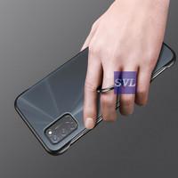 Oppo A92 Case Frameless Transparant Stand Ring Casing Hardcase - Hitam
