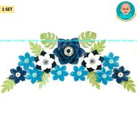 Bunga Kertas Dekorasi / Paper Flower Backdrop Photobooth (Biru)
