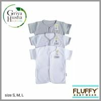 Fluffy - 3 pcs Baju Pendek Bayi polos Seri Abu Size S M L