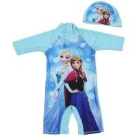 Baju renang one piece anak perempuan frozen elsa anna + topi import