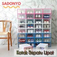 Kotak Sepatu Lipat / Box Rak Sepatu / Rak Sepatu Kotak Transparan