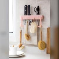 Rak Tempat Pisau Dapur Gunting Hook + Gantungan Lap