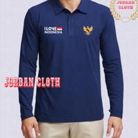 Polo shirt - Tshirt - Kaos Kerah Lengan Panjang I Love Indonesia