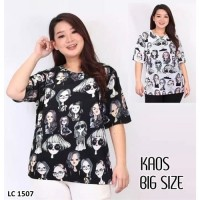 Kaos Oblong Wanita Baju Murah Atasan Motif Melar Jumbo Size LC 1507Big