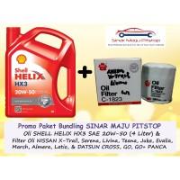 Paket Oli Mobil SHELL HELIX HX3 20W-50 & Filter DATSUN GO & GO+ PANCA