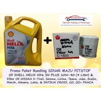 Paket Oli Mobil SHELL HELIX HX6 10W-40 & Filter NISSAN GRAND LIVINA