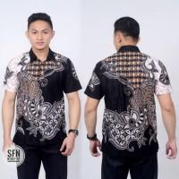 Baju batik pria kemeja lengan pendek hem cowok modern motif kujang