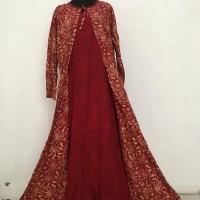 Abaya gamis kombinasi cardy/rompi batik rayon cap tali samping fit XL