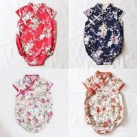 BAJU BAYI ANAK PEREMPUAN UMUR 1-2 TAHUN Red Floral Baby Cheongsam