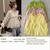 El Blouse 0789# 0789 candice tops Kuning Hijau Pink Creme import