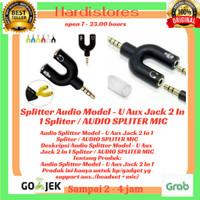 Splitter Audio Model - U Aux Jack 2 In 1 Spliter / AUDIO SPLITER MIC