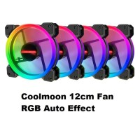 Coolmoon 12cm Fan RGB Auto Effect Ring Halo LED Murah Mantap
