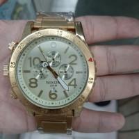 jam tangan pria quartz chronograph gold nixon