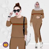 LM 03650 Baju Setelan Olahraga Senam Training Wanita GARIS L - Coklat, L