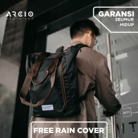 Tas Ransel Backpack Tote Bag Arcio Kaito Black Free Rain Cover