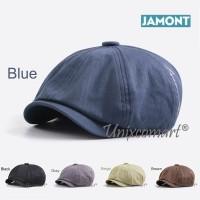 Jamont British Style Beret Topi Newsboy Flat Hat Pelukis Patino Retro - Beige