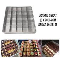Loyang Sekat Brownies Ukuran 20x20x4cm isi 25 Lubang Kue Brownis Bolu